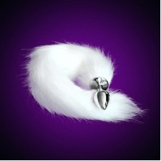 Metal Anal Plug Fox Tail White