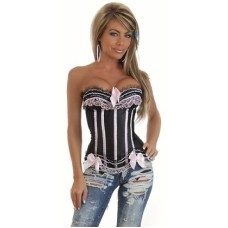 SEXY STRIPED RUFFLED CORSET BLACK AND WHITE