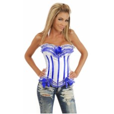 SEXY STRIPED RUFFLED CORSET WHITE AND BLUE