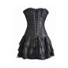 BLACK LACE BUSTIER AND SKIRT